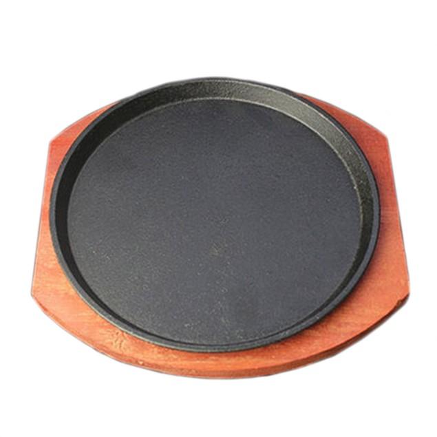 Cast Iron Grilled Fillet Steak rosewood bottom 23cm iron plate Griddles