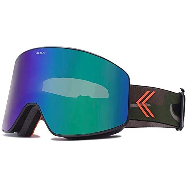 Kreedom GKCYBLAGMCG La Grave Goggle with Green Chrome Lens & Black Frame,