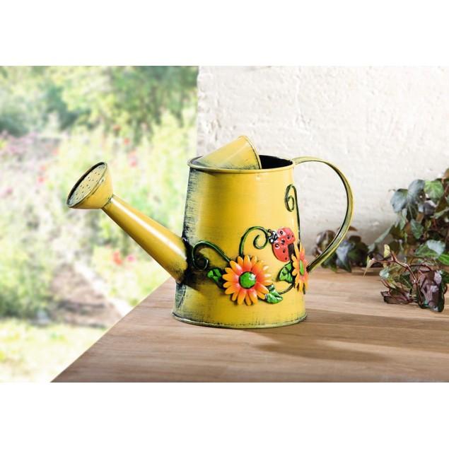 Decorative Sunflower & Ladybug Metal Watering Can