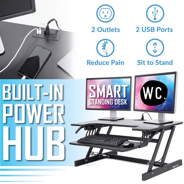 Smart-Lift Height Adjustable Standing Desk with Built-In Power Hub