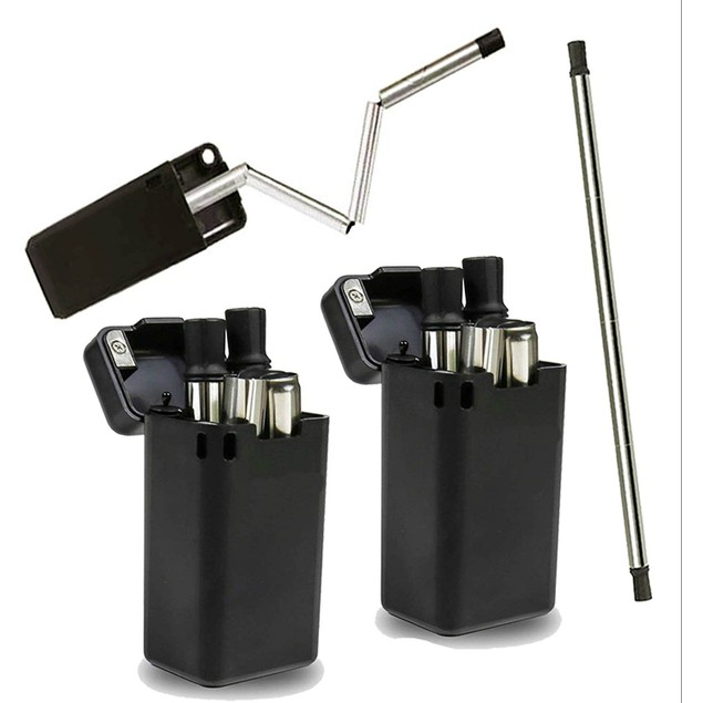 Collapsible Reusable Stainless Steel Drinking Straw with Storage Case
