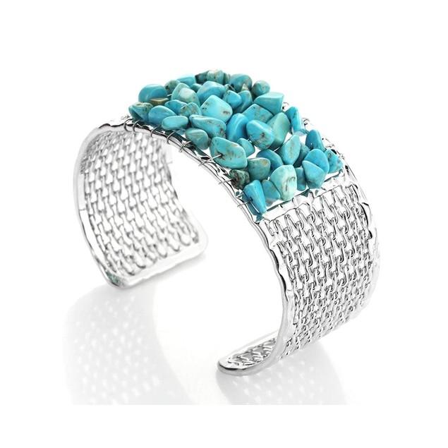 Novadab Turquoise Pebble Mesh Bracelet