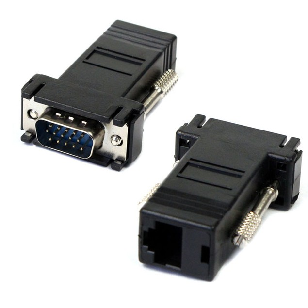 VGA Extender Male To Lan Cat5 Cat5e RJ45 Ethernet Female Adapter