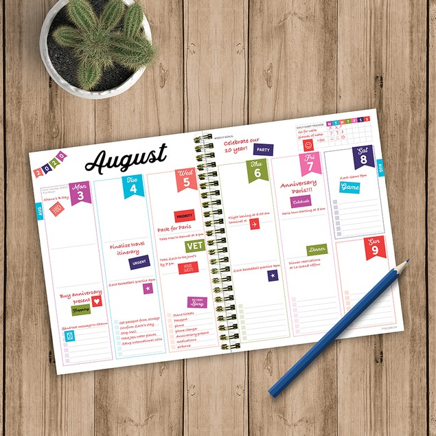 July 2020 - June 2021 Colorful Medium Daily Weekly Monthly Planners