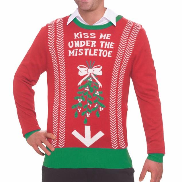 Kiss Me Under The Mistletoe Ugly Christmas Sweater Tacky Funny Sweatshirt