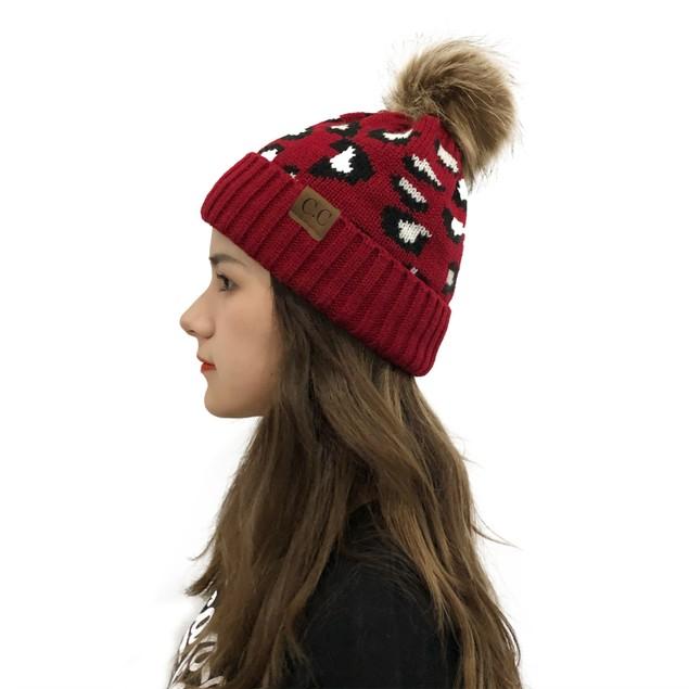 Women's Leopard Print Curled Woolen Cap