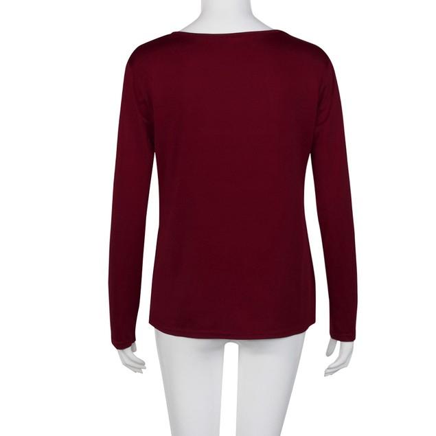 Women Full Of Christmas Spirit Printed Splicing T-Shirt Blouse Tops B