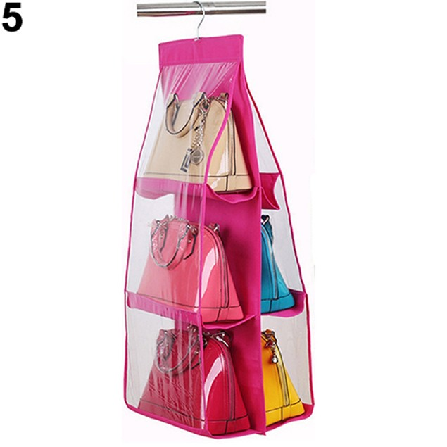 6Pockets Hanging Handbag Purse Bag Tidy Organizer Storage