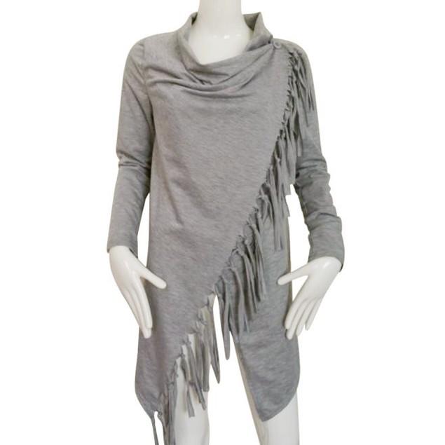 Women Long Sleeve Tassel Slash Blouse Tops Shirt
