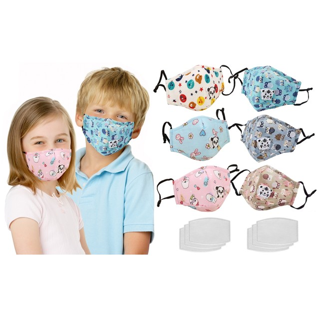 3-Pack Kids Reusable Cotton Face Masks with Filters
