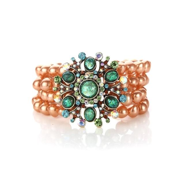 Novadab Pistachio-Saffron Multi-layered Vintage Bracelet