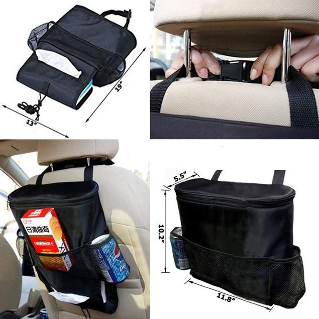 Car Auto Black Seat Back Multi-Pocket Storage Bag Organizer