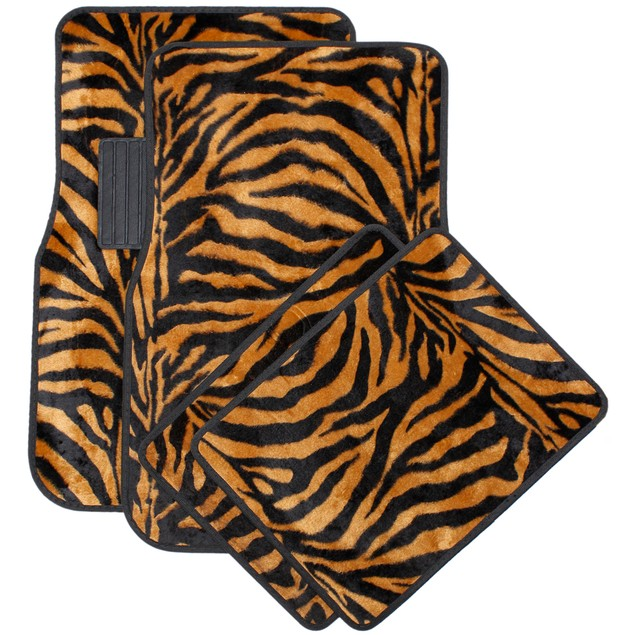 Oxgord Front Back Seat Zebra Tiger Stripe Carpet Mats For