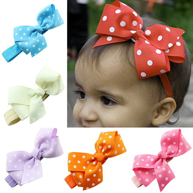 Baby Girl Cute Polka Dot Ribbon Bows Headband
