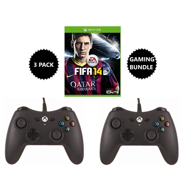 2 AmazonBasics Xbox One Wired Controllers w/ FIFA 14, 3 Pack Gaming Bundle