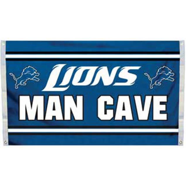 Detroit Lions Man Cave Flag 3' x 5' Banner 4 Grommets NFL Sign Gift