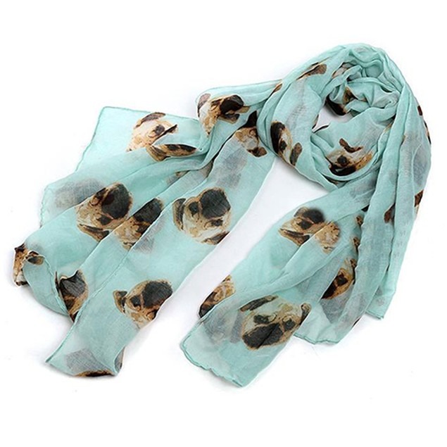 Women Fashion Long Cute Pug Dog Head Print Scarf