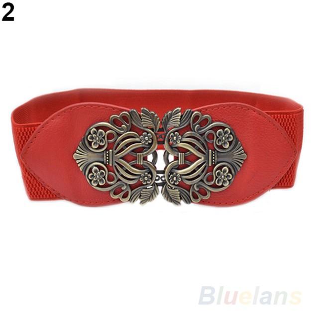 Women Vintage Adjustable Flower Elastic Stretch Buckle Wide Waist Belt