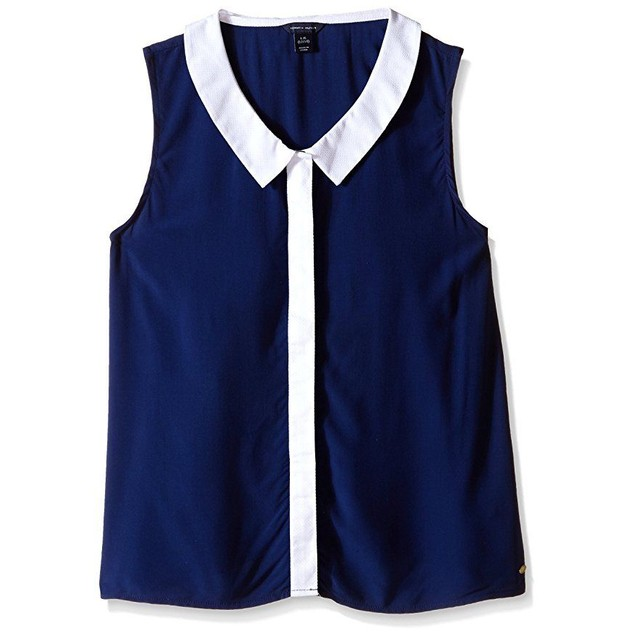 Tommy Hilfiger Big Girls' Color Block Collared Tank Top, Flag Blue, La