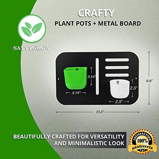 Succulent Wall Hanging Planter Decor - Indoor Magnetic Metal Mount & 2 Pots