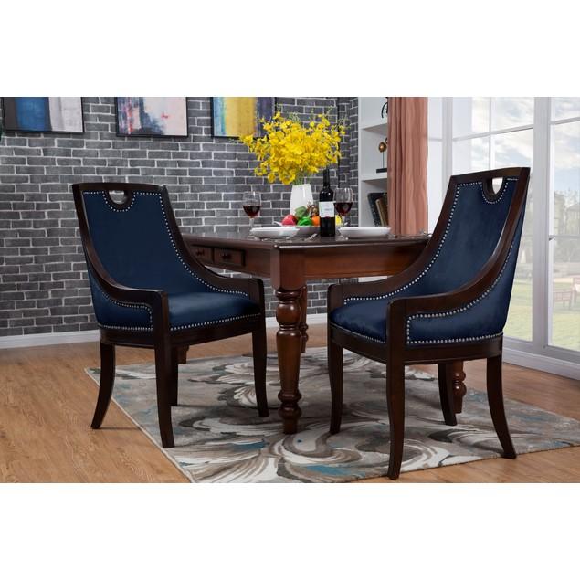 Chic Home Elijah Neo Traditonal Velvet Nailhead Dining Side Chair
