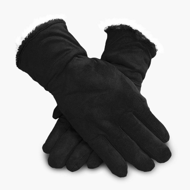Women's Genuine Suede Cold Weather Gloves with Warm Soft Lining