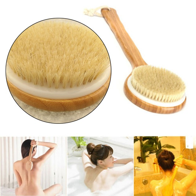 Wooden Handle Bath Shower Body Back Brush Spa Scrubber Exfoliating