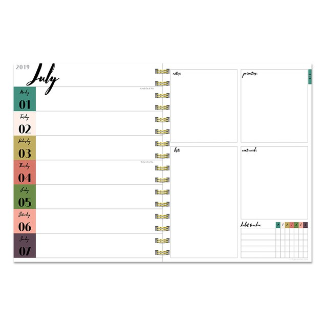 July 2019 - June 2020 Marble Weekly Monthly Planner
