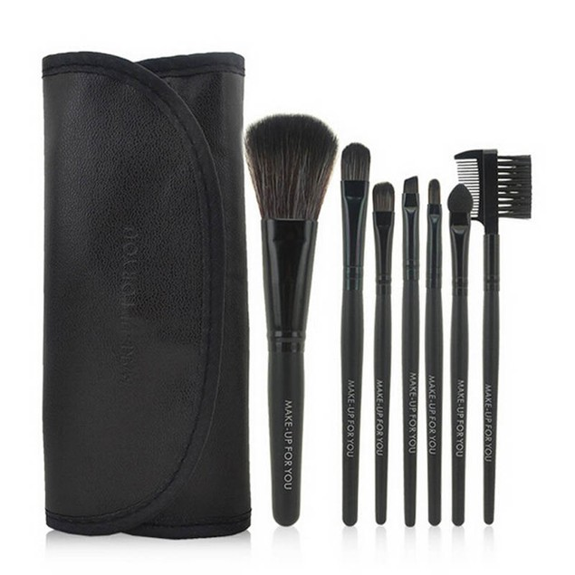 7-Piece Wood Makeup Brushes Kit with Bag