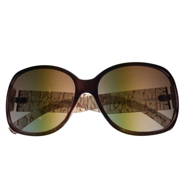 Ellen Tracy Womens Sunglass 519 3 Brown Fade Rectangle, Gradient Lens