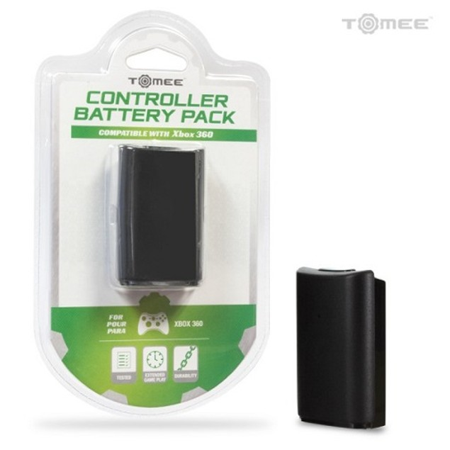 Rechargeable Controller Battery Pack for Xbox 360 (Black) - Tomee