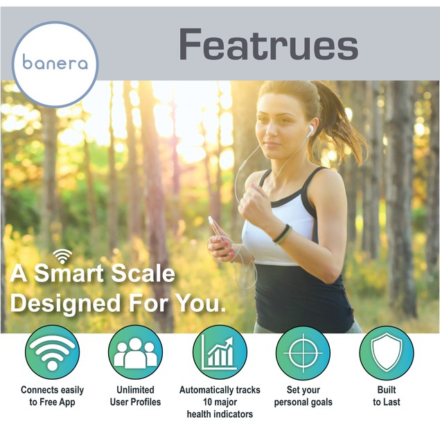 WiFi Smart Body Fat Scale with Free App - Works with Apple & Android