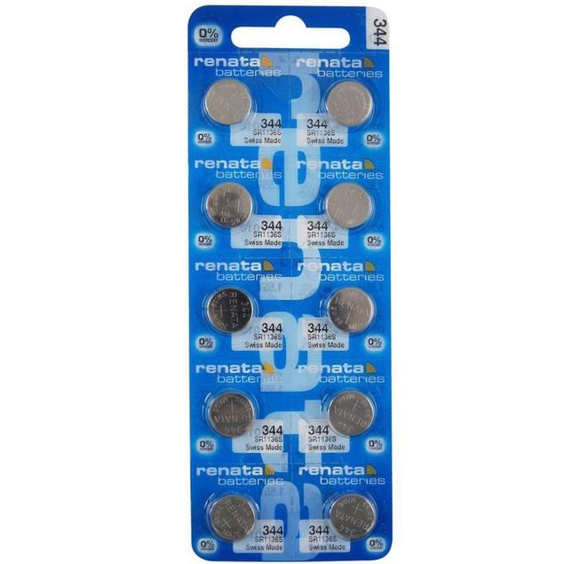Renata 344 (SR1136SW) Silver Oxide Watch Batteries (10 Pack)