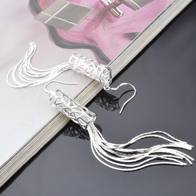 Women Fashion Silver Plated Long Chain Earrings