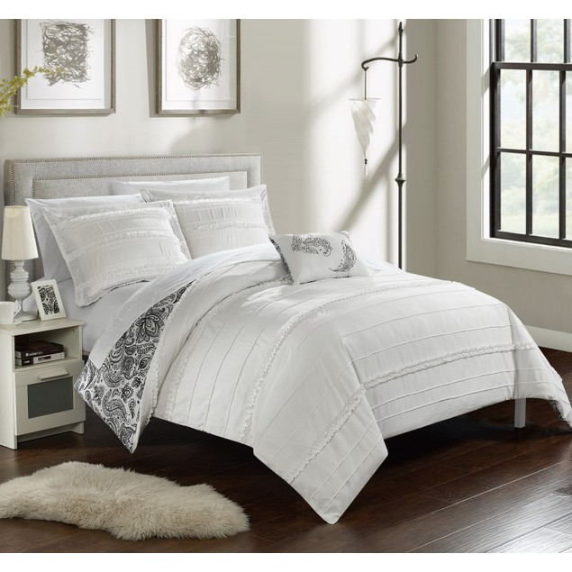 Chic Home 4 Pc. Nash Pleated and Ruffled REVERSIBLE FLoral Duvet Cover Set