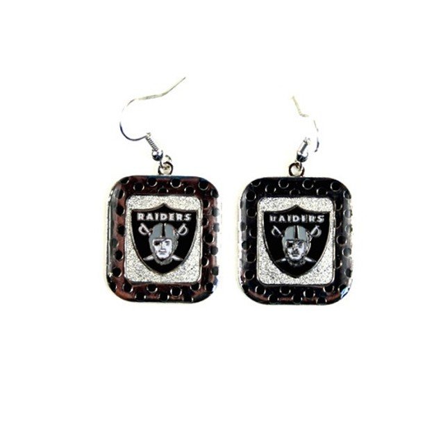 Oakland Raiders NFL Polka Dot Style Dangle Earrings