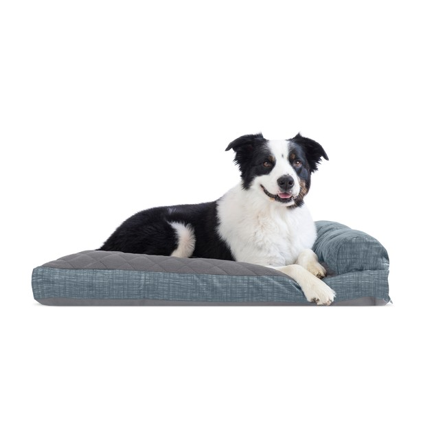 FurHaven Quilted Fleece & Print Suede Chaise Lounge Pillow Sofa Pet Bed