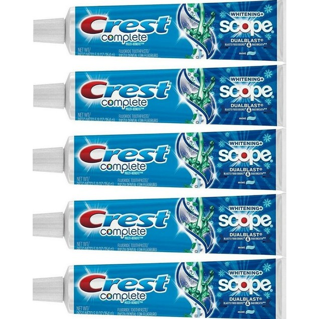 5-Pack Crest Toothpaste Multi-Benefit Whitening + Scope, Mint, 5.8oz