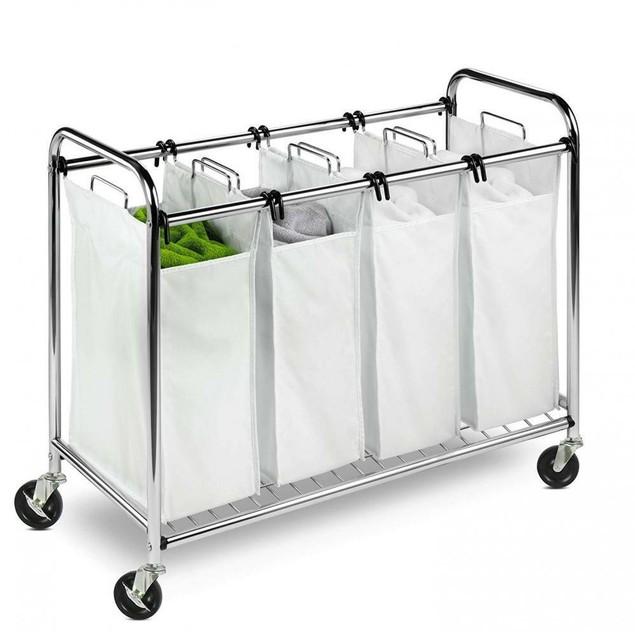 Heavy Duty Quad Rolling Laundry Sorter Hamper, Chrome/White