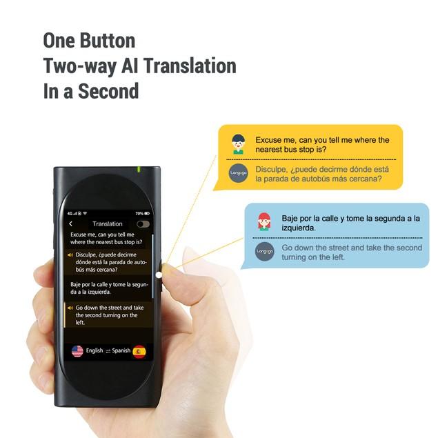 Langogo Genesis 2-in-1 AI Translator Device and Voice Recorder Transcriber