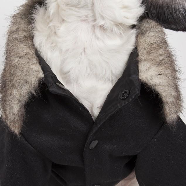 Buttoned 'Coast-Guard' Fashion Faux-Fur Collared Wool Pet Coat