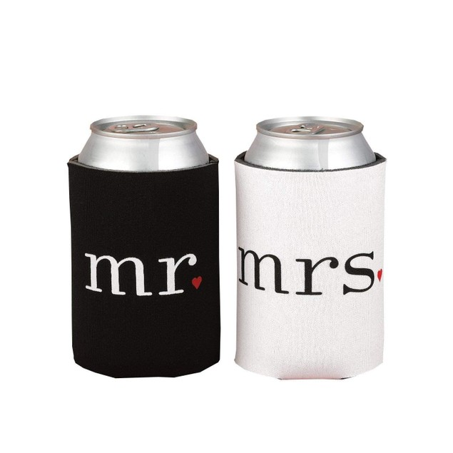 Mr. and Mrs. Can Cooler Foam Holder Wedding Gift Set Party