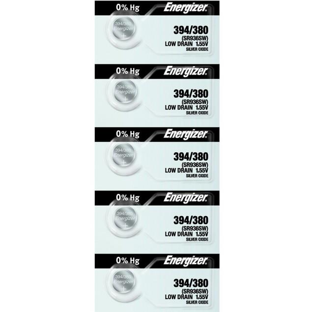 Energizer 394/380 (SR936/W/SW) Silver Oxide Watch Batteries (5 Pack)