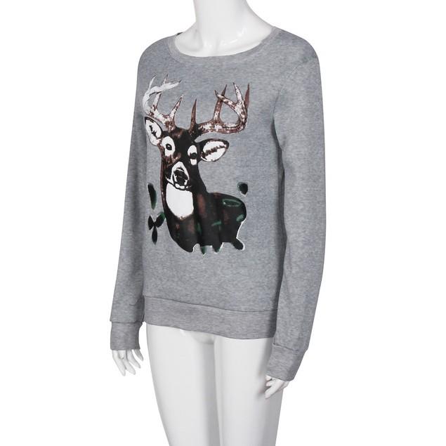 Christmas Elk Printed Long Sleeve Tops T-Shirt Blouse Loose Shirt