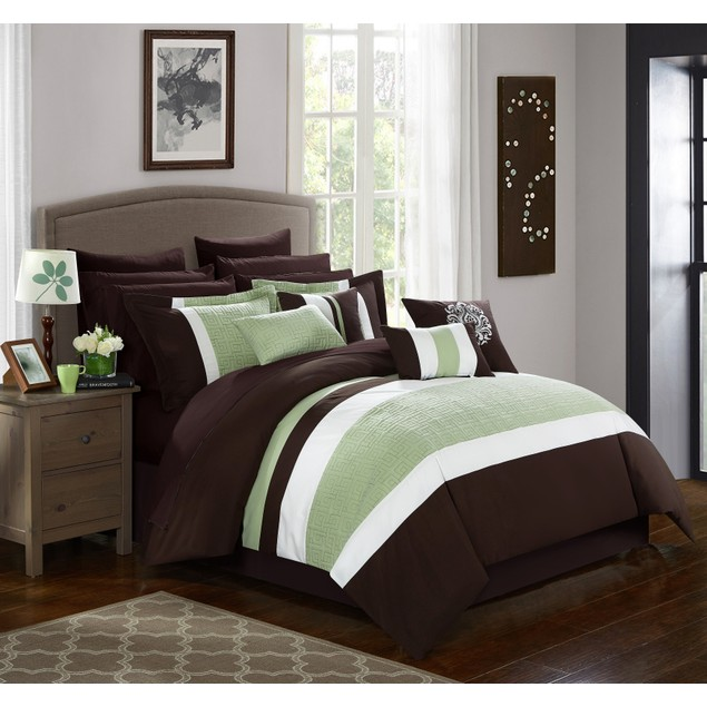 Chic Home 16 Pc. Myrtle Embroidered and Quilted Bed In a Bag Comforter Set