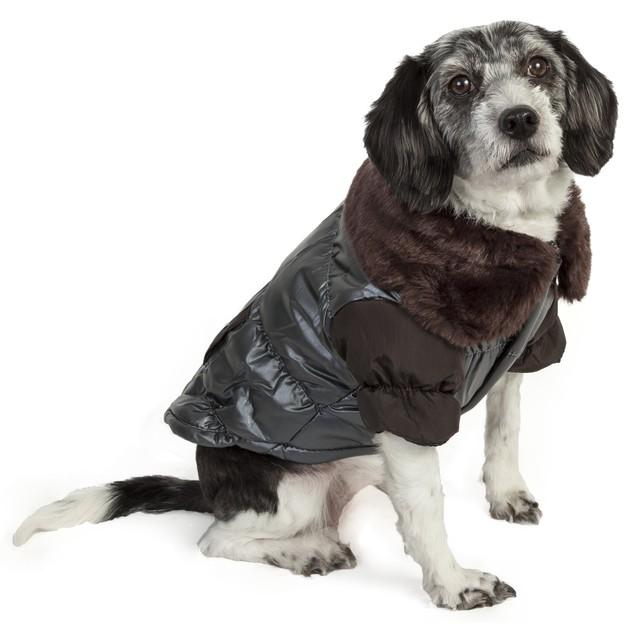 Ultra Fur 'Track-Collared' Metallic Pet Jacket