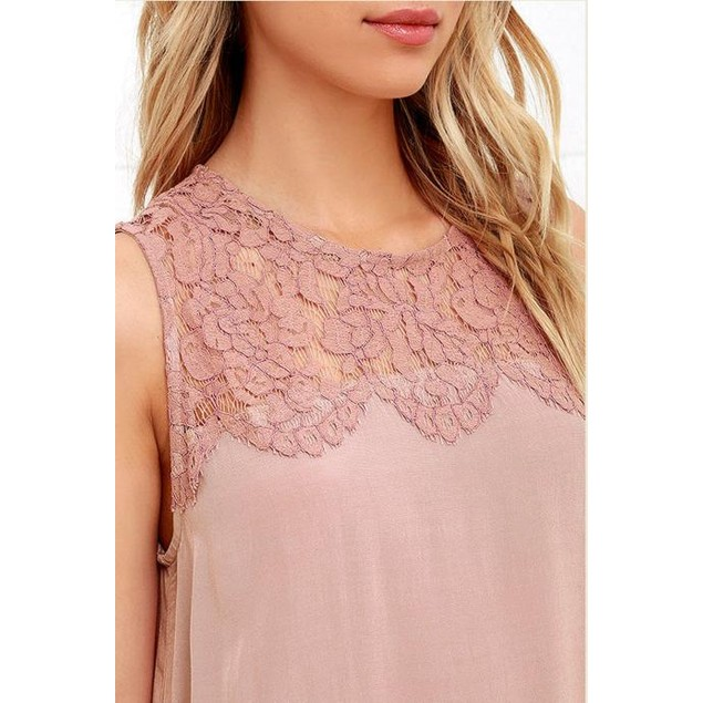 Women's Chiffon Lace Sleeveless Blouse