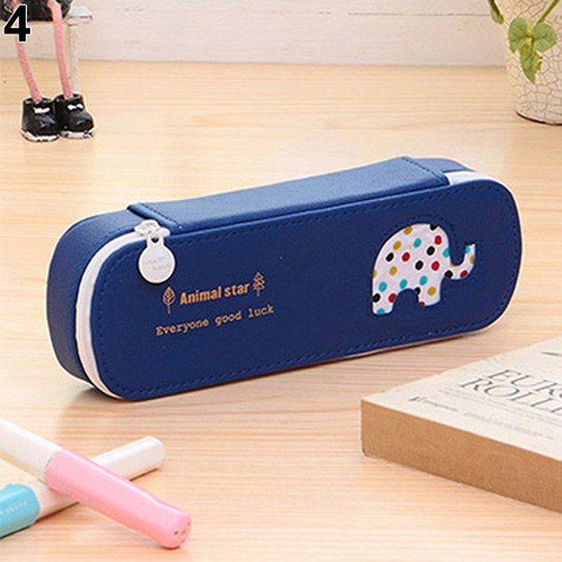 Dotted Bear Elephant Horse Dolphin Pattern Pencil Case