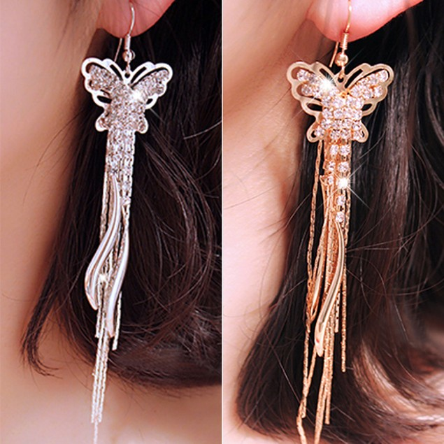 Women Rhinestone Butterfly Crescent Moon Drop Earrings