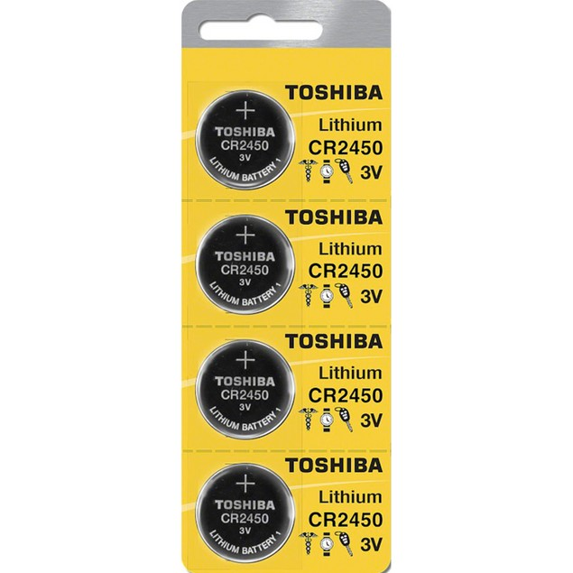 Toshiba CR2450 3-Volt Lithium Coin Cell Batteries (4 Batteries)